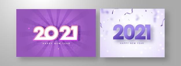 Design de pôster de celebração de feliz ano novo com número de 2021 em duas opções de cores
