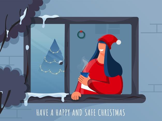 Design de pôster de celebração de natal feliz e seguro