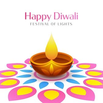 Design de pôster de celebração feliz diwali com lâmpada a óleo acesa (diya)