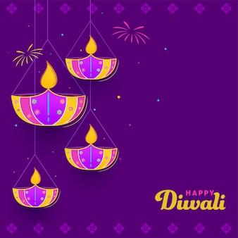 Design de pôster de celebração feliz diwali com lâmpadas de óleo acesas penduradas