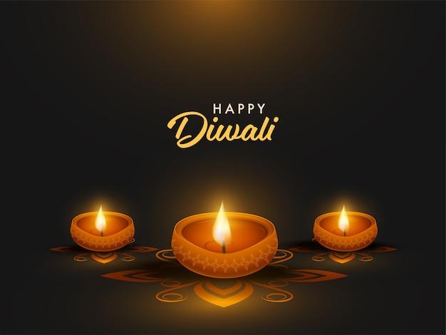 Design de pôster de celebração feliz diwali com lâmpadas de óleo iluminadas