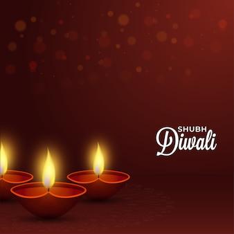 Design de pôster de celebração shubh diwali