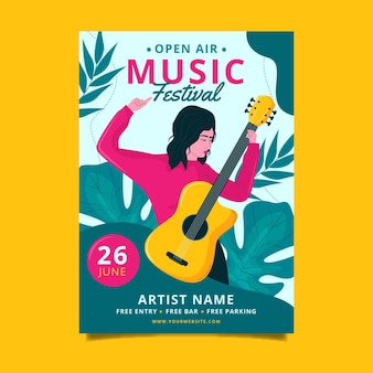 Design de pôster de festival de música ao ar livre