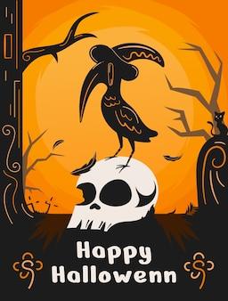 Design de pôster de halloween com ilustração de corvo e caveira