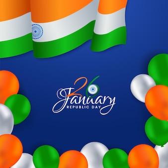 Design de pôster do dia da república de 26 de janeiro com bandeira ondulada da índia Vetor Premium