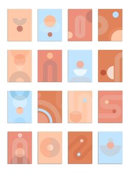Design de pôster estético contemporâneo abstrato com formas geométricas e linhas como o sol e o arco-íris. decoração de parede moderna de meados do século. impressão minimalista da moda. ilustração vetorial.