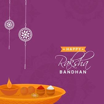 Design de pôster feliz raksha bandhan com prato de adoração de rakhi