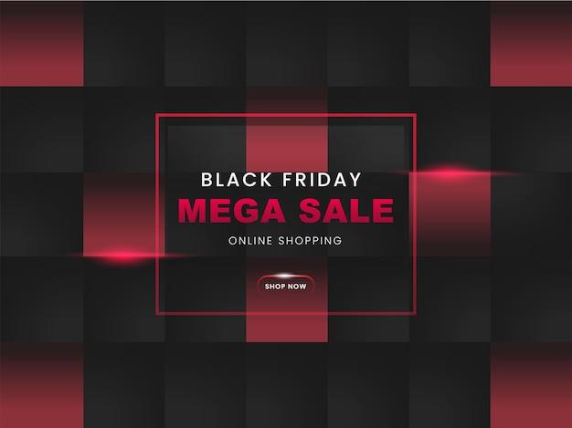 Design de pôster mega sale black friday com padrão quadrado