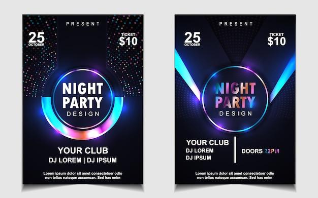 Design de pôster musical de festa dançante colorida à noite