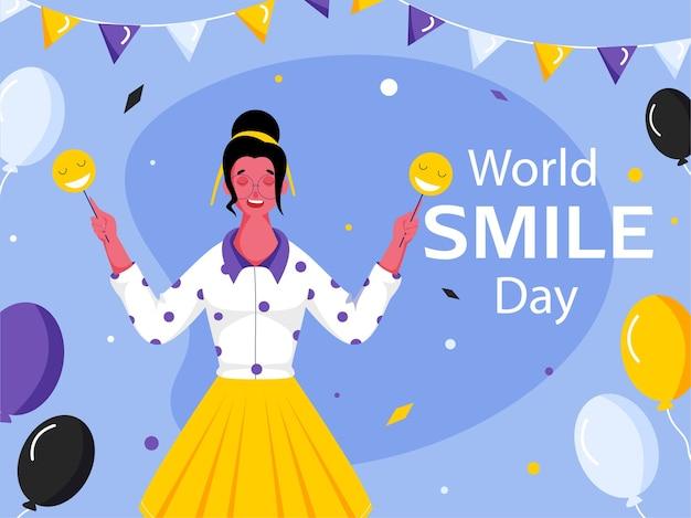 Design de pôster para o dia mundial do sorriso com uma jovem segurando bastões de smiley emoji