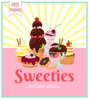 Design de poster retro de sweeties com uma variedade colorida de bolos de sorvete, biscoitos, donuts e cupcakes com raios amarelos e texto - sweeties - coberturas grátis
