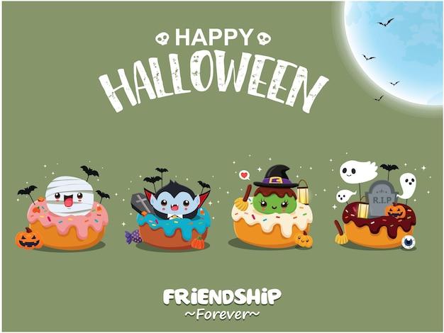 Design de pôster vintage de halloween com personagem de cupcake de vetor vampiro bruxa múmia fantasma