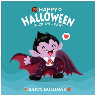 Design de pôster vintage de halloween com personagem de vampiro vetor