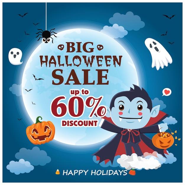 Design de pôster vintage de halloween com personagem de vetor bruxa e abóbora fantasma