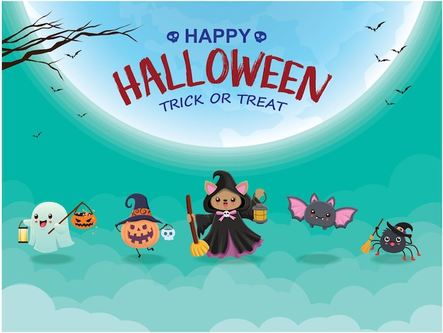 Design de pôster vintage de halloween com personagem de vetor bruxa fantasma de morcego-aranha