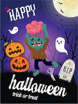 Design de pôster vintage de halloween com personagem vector zumbi fantasma jack o lantern