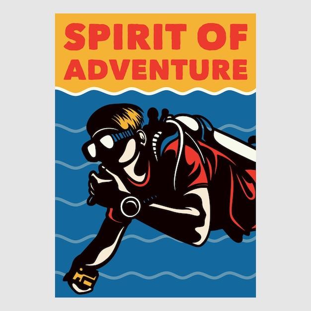 Design de poster vintage, espírito de aventura ilustração retro