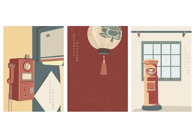 Design de poster vintage japonês. telefone, lanterna, postar elementos da caixa de correio. fundo asiático.