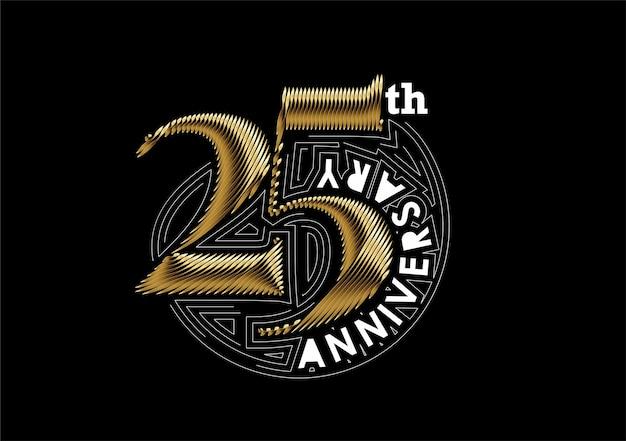 Design de prata de celebração de aniversário de 25 anos. desenho vetorial.