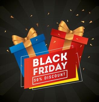Design de presentes de sexta-feira negra, oferta de venda, economia e compras