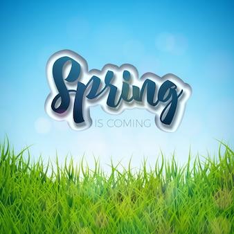 Design de primavera com grama verde no fundo do céu azul