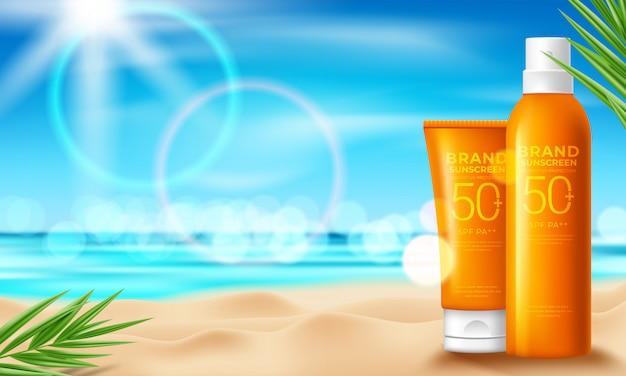 Design de produtos cosméticos de proteção solar com creme hidratante, sol e o fundo da praia