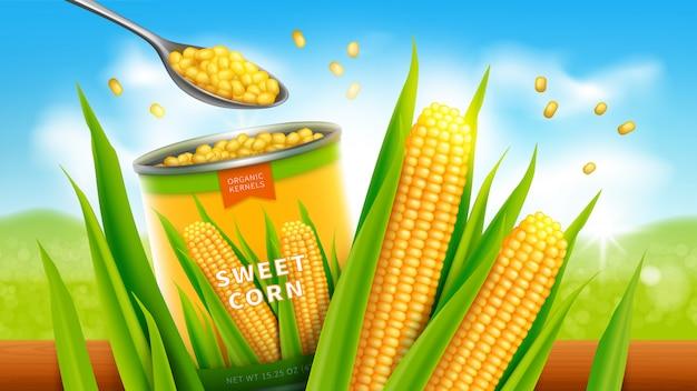 Design de publicidade de vetor realista de milho doce