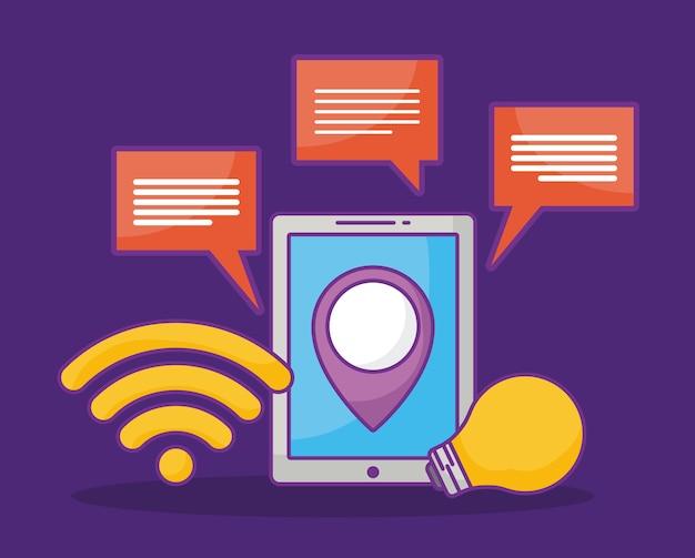 Design de publicidade on-line com tablet e ícones relacionados