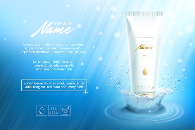 Design de publicidade para produtos cosméticos. creme hidratante, gel, loção corporal com vitaminas.
