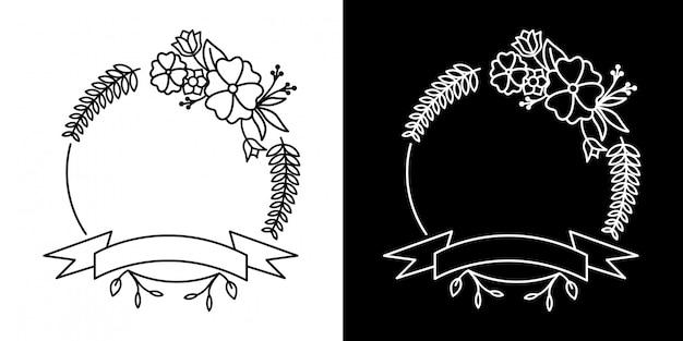 Design de quadro de flor monoline