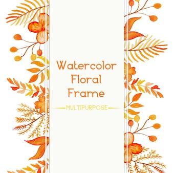 Design de quadro floral de aguarela amarela e laranja desenhada a mão