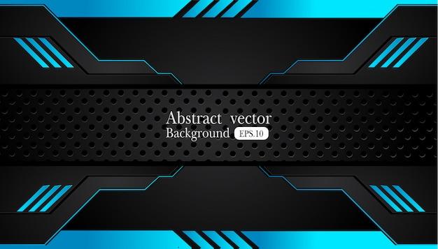 Design de quadro preto abstrato azul metálico
