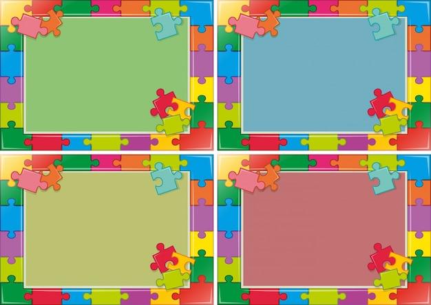 Design de quatro quadros com quebra-cabeça