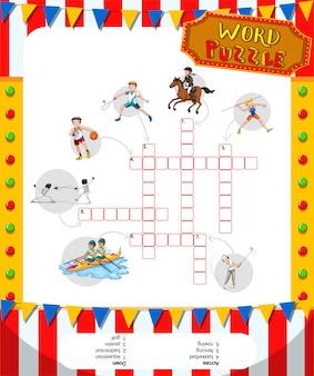 Design de quebra-cabeça de jogos de palavras com tema de esporte