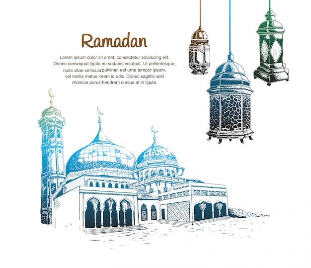 Design de ramadã com lanterna e mesquita