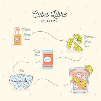 Design de receita coquetel de cuba libre