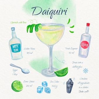 Design de receita de coquetel de daiguiri