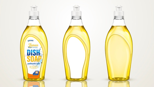 Design de recipiente de sabão em pó, frascos de detergente para lava-louças em ilustração 3d, alguns com rótulos, outros sem