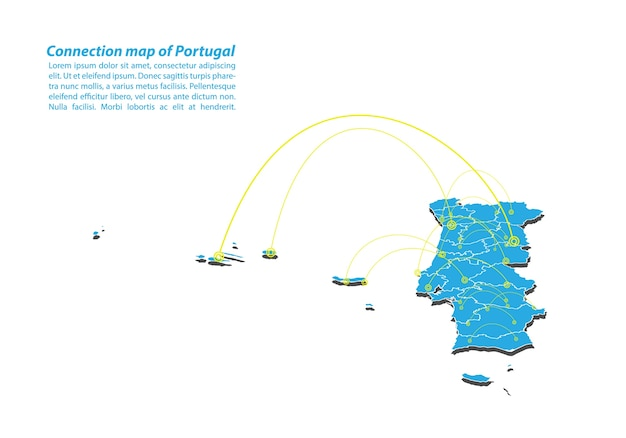 Design de rede de conexões de mapa moderno de portugal