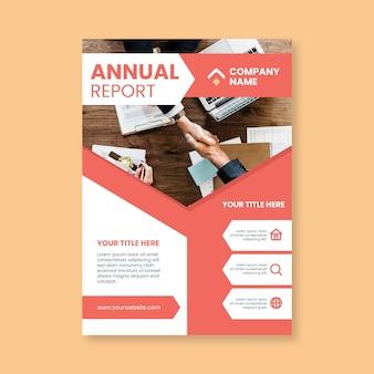Design de relatório anual de modelo com foto