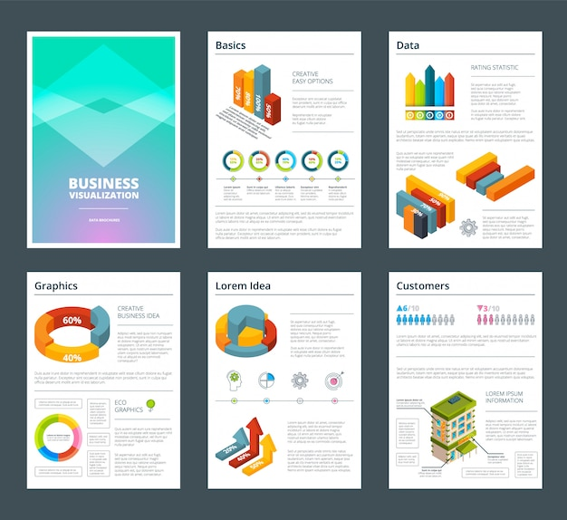 Design de relatórios anuais com imagens coloridas de gráficos. modelo de relatório de negócios com gráfico e gráfico