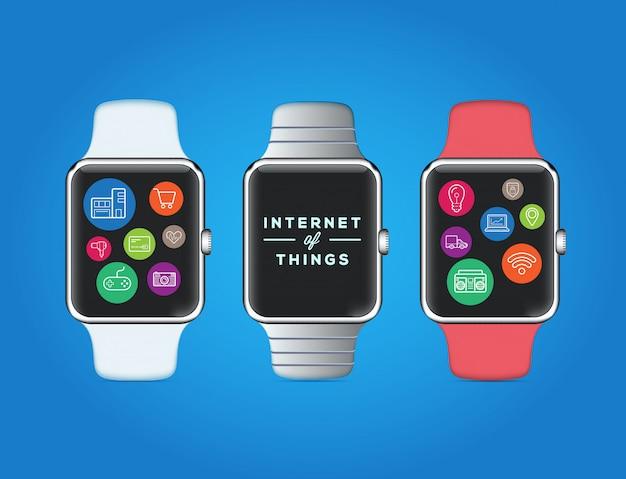 Design de relógio inteligente com ícones