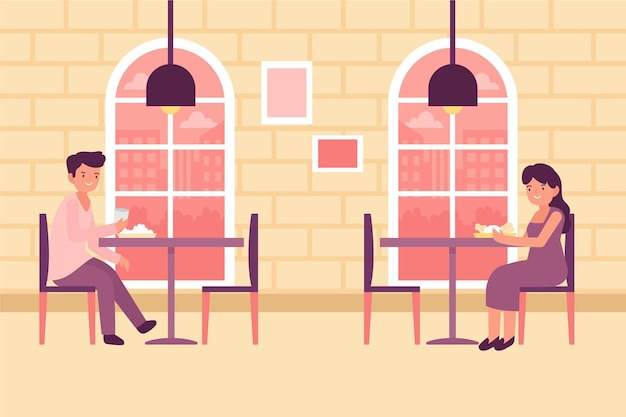 Design de restaurante social de distanciamento