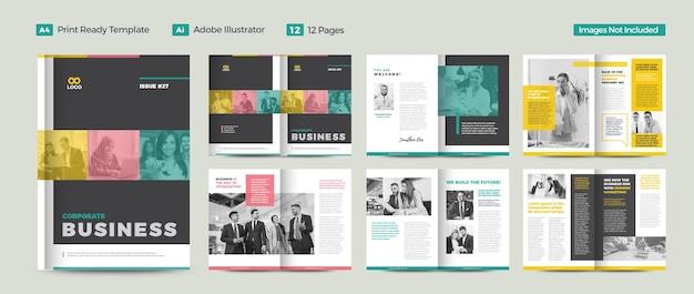 Design de revista de negócios ou lookbook editorial ou layout de jornal multiuso