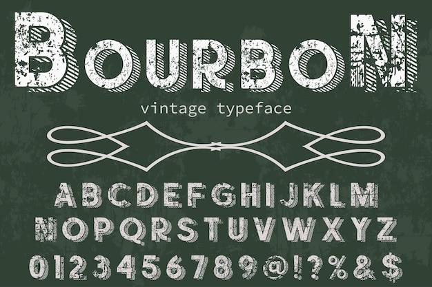 Design de rótulo de alfabeto bourbon