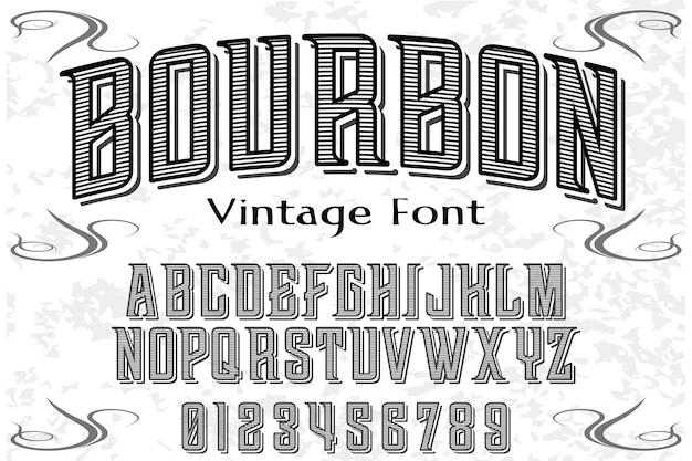 Design de rótulo de alfabeto de bourbon