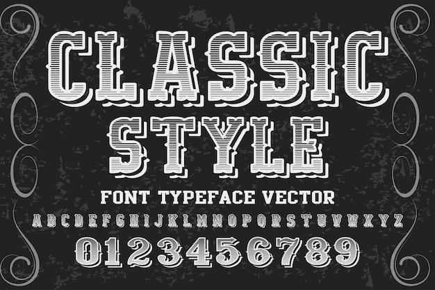 Design de rótulo de alfabeto de estilo clássico