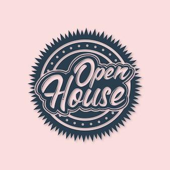 Design de rótulo de casa aberta