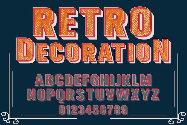 Design de rótulo de decoração retro alfabeto
