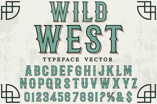 Design de rótulo de fonte oeste selvagem
